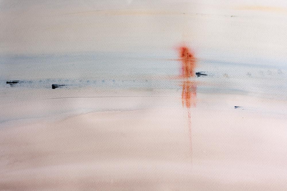 """""""Eén met de Zee"""", aquarel 76x57 cm"""