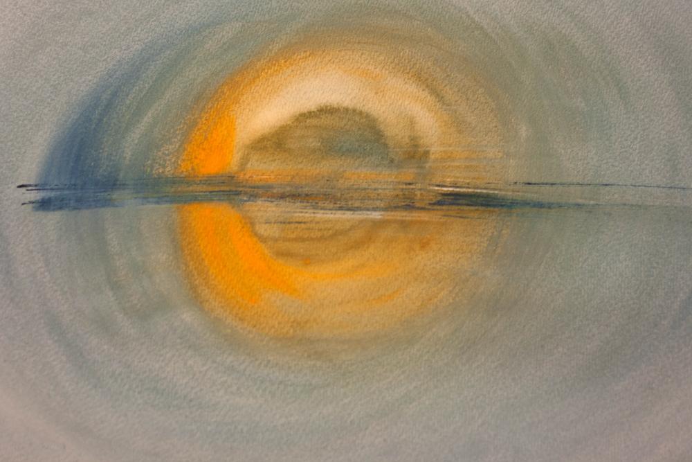 """Sunset"", aquarel 76x57 cm"